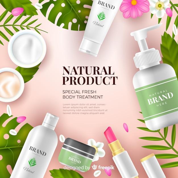 Anuncio realista cosmético natural vector gratuito