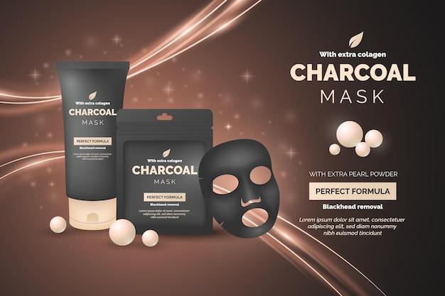 Anuncio realista para producto de mascarilla de carbón vegetal vector gratuito