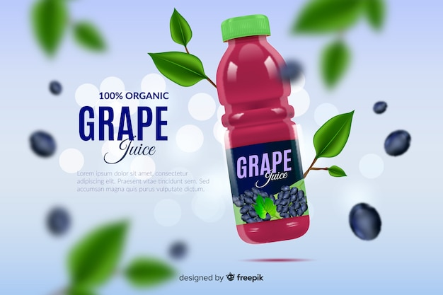 Anuncio realista zumo de uva natural vector gratuito
