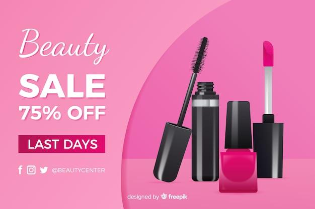 Anuncio de venta de productos cosméticos realistas. vector gratuito