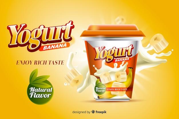 Anuncio de yogur vector gratuito
