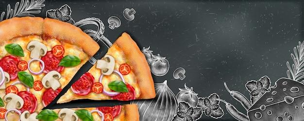 Anuncios de banner de pizza con ilustración de comida y estilo de grabado en madera sobre fondo de pizarra Vector Premium
