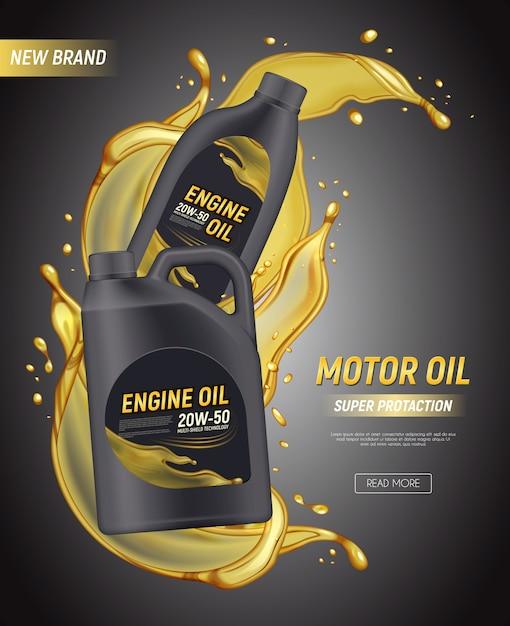 Anuncios de carteles de aceite de motor realistas con salpicaduras de paquete de texto editable y gotas de aceite de motor vector gratuito