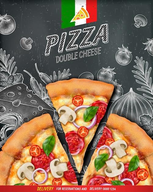 Anuncios de carteles de pizza con ilustración de comida y estilo de grabado en madera sobre fondo de pizarra, vista superior Vector Premium
