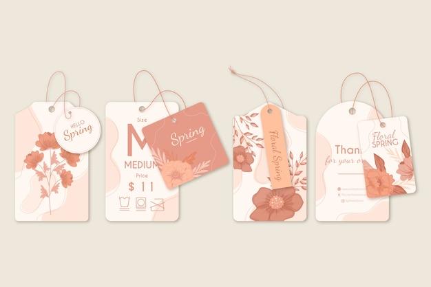 Anuncios de etiquetas y perchas florales de primavera vector gratuito