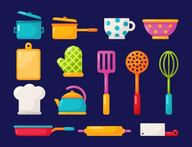 Aparatos de cocina y utensilios de cocina iconos conjunto aislado sobre fondo azul. Vector Premium