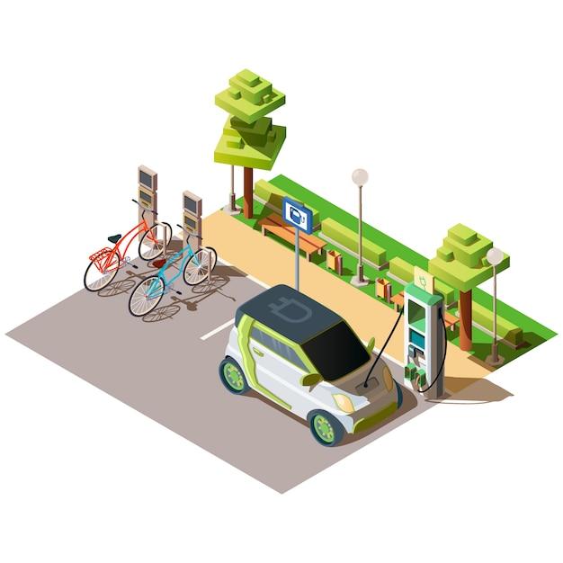 Aparcamiento de coches eléctricos y bicicletas. vector gratuito