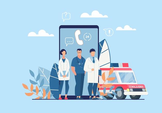 Aplicación de ambulancia brillante cartel de dibujos animados plana. Vector Premium