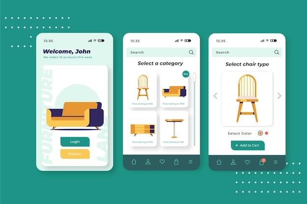 Aplicación de compra de muebles Vector Premium