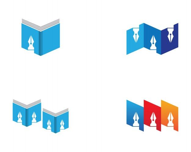 Aplicación de iconos de plantilla de logo y símbolos de lectura de libro ...