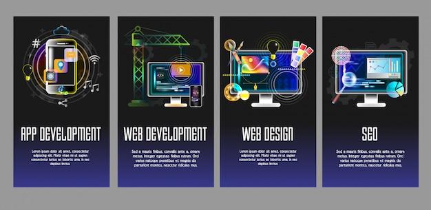 Aplicación, desarrollo web, diseño, plantillas de vectores seo Vector Premium