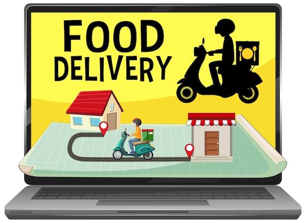 Aplicación de entrega de alimentos aislada vector gratuito