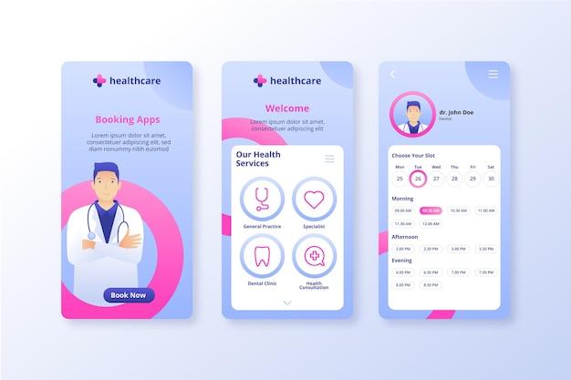 Aplicación en línea de reserva médica Vector Premium