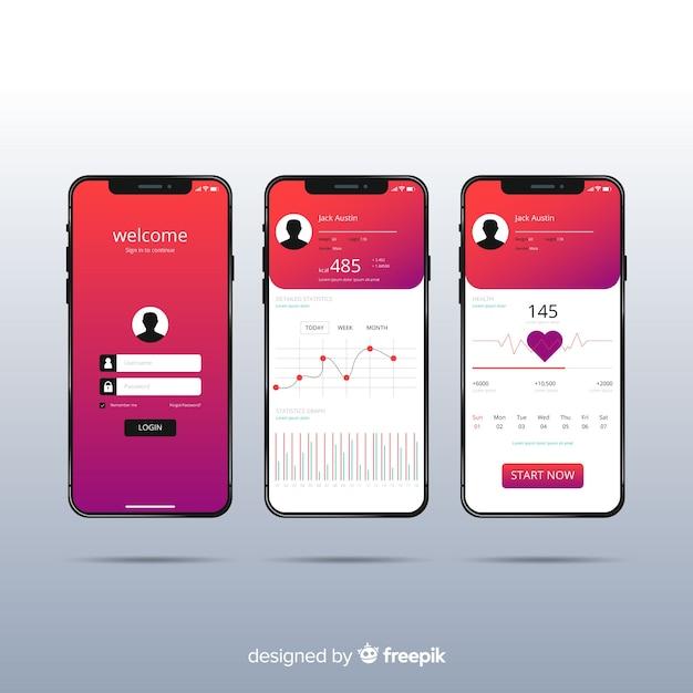 Aplicación móvil fitness infografía diseño plano vector gratuito