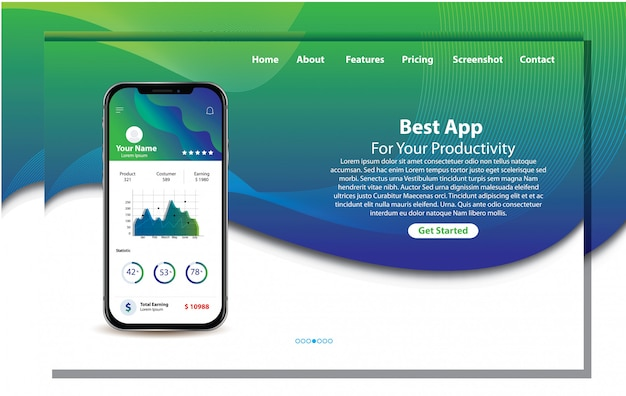 Aplicación móvil para la página de inicio de productividad Vector Premium