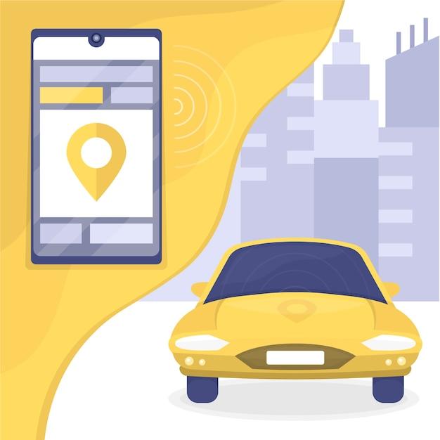 Aplicación móvil de servicio de taxi vector gratuito