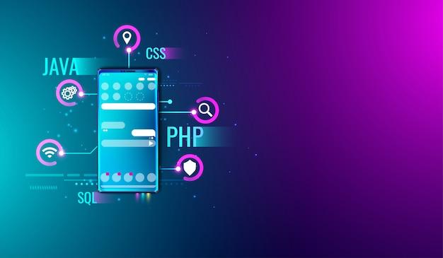 Aplicación móvil ui ux concepto de diseño y desarrollo. Vector Premium