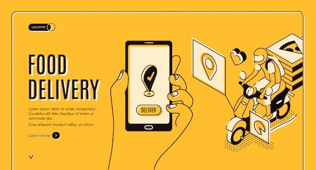 Aplicación de página de destino isométrica del servicio de entrega de alimentos vector gratuito