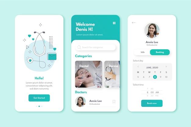Aplicación de reserva médica vector gratuito