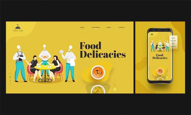Aplicación de restaurante en línea en teléfonos inteligentes con pedidos de chefs que sirven comida a clientes sentados en la mesa del comedor Vector Premium
