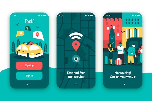 Aplicación de servicio de taxi para dispositivos móviles vector gratuito