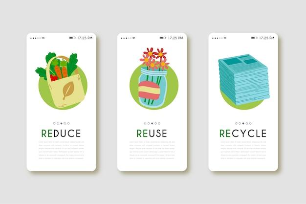 Aplicación de teléfono móvil para productos reutilizados vector gratuito