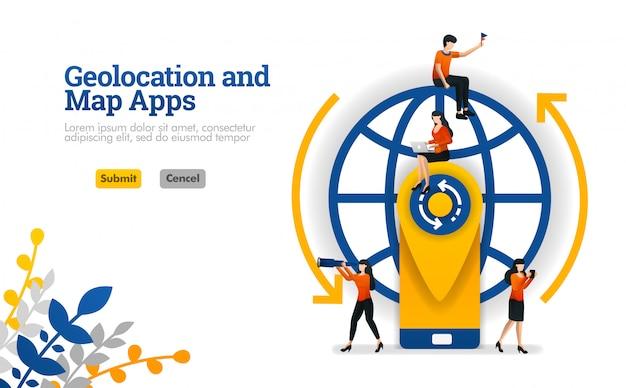 Aplicaciones de geolocation y maps para viajes, vacaciones y viajes concepto de ilustración vectorial Vector Premium