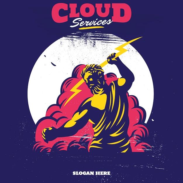 Aplicaciones del servicio en la nube zeus thunderbolt gods mascot Vector Premium