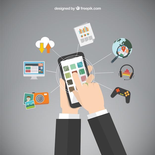 Aplicaciones de teléfonos móviles vector gratuito