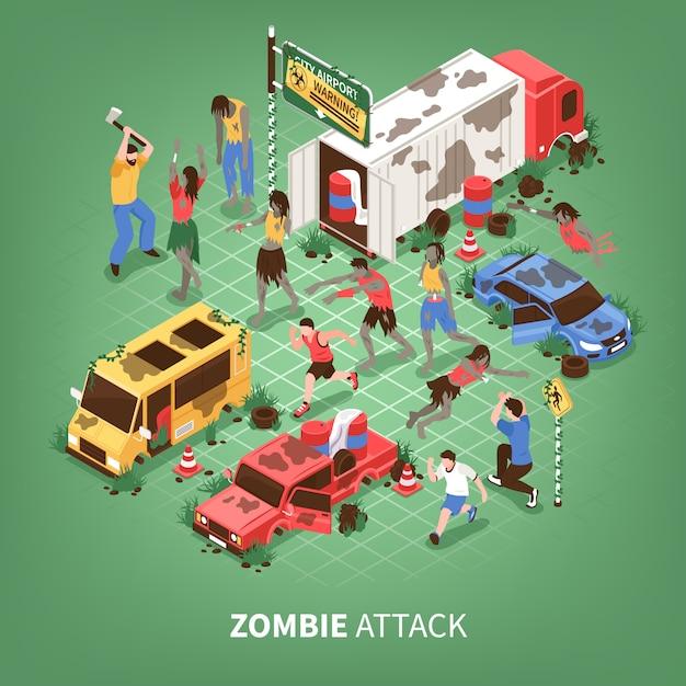 Apocalipsis zombi isométrico vector gratuito