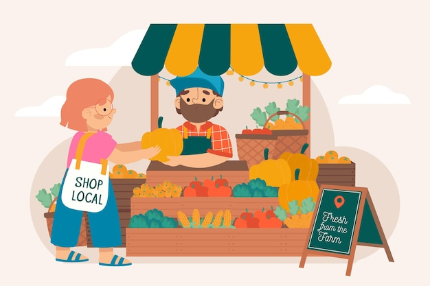 Apoye el concepto de agricultores locales vector gratuito