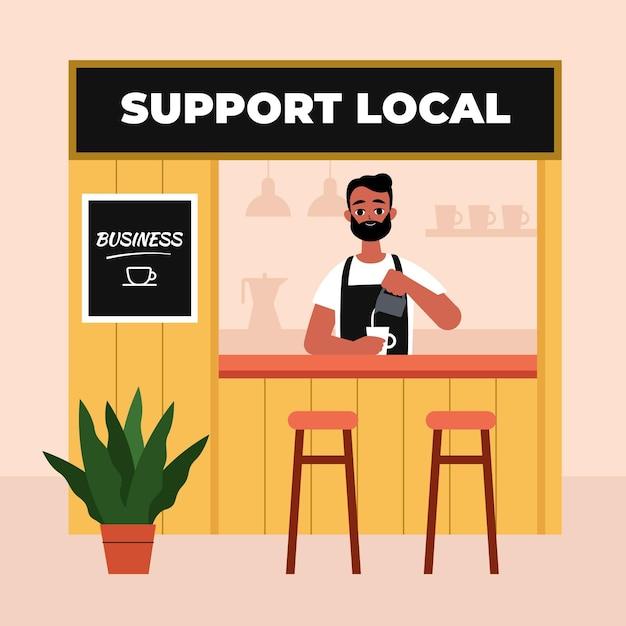 Apoye el concepto de negocio local vector gratuito