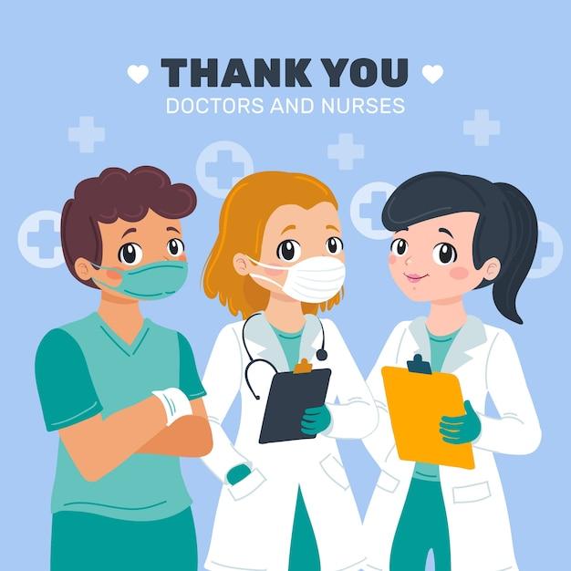 Apreciación de médicos y enfermeras. vector gratuito