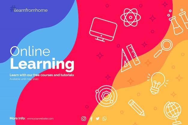Aprende del banner de inicio con íconos de educación vector gratuito