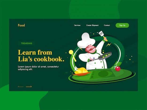Aprende de la página de inicio del libro de cocina de lien con el personaje del chef cocinando en verde. Vector Premium