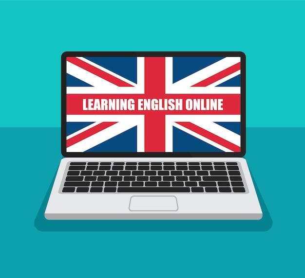 Aprender inglés en línea. bandera de gran bretaña en una pantalla de portátil en estilo plano de moda. concepto de cursos de inglés de verano. | Vector Premium