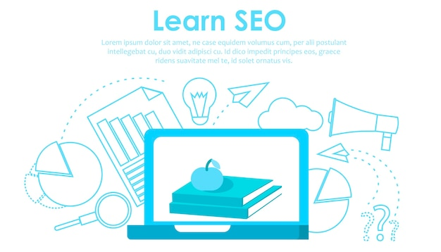Aprender seo banner vector gratuito