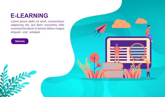Aprendiendo el concepto de ilustración con carácter. plantilla de página de aterrizaje Vector Premium
