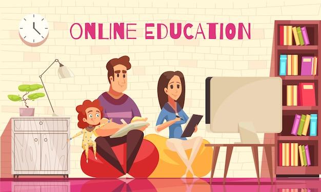 Aprendizaje en casa educación lejana para familia con niños composición de dibujos animados con padres jóvenes detrás de computadora vector gratuito