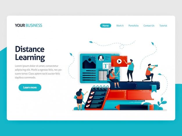 Aprendizaje a distancia de la página de destino con e-learning. Vector Premium