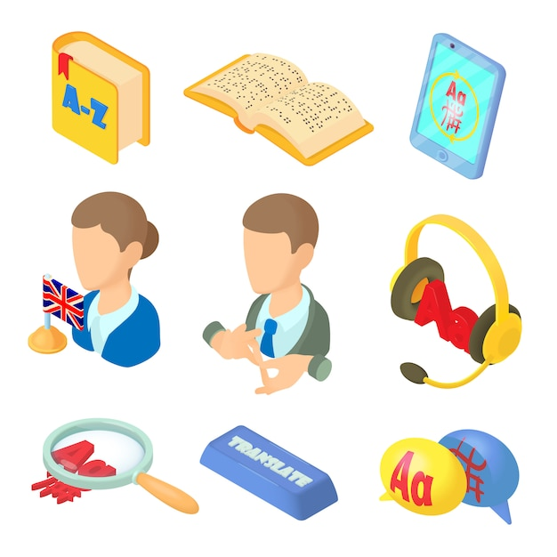 Aprendizaje de iconos de idiomas extranjeros en estilo de dibujos animados Vector Premium