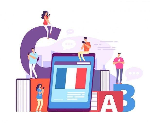 Aprendizaje en línea de lenguas extranjeras. personas con teléfonos inteligentes que estudian francés con un profesor en línea. Vector Premium