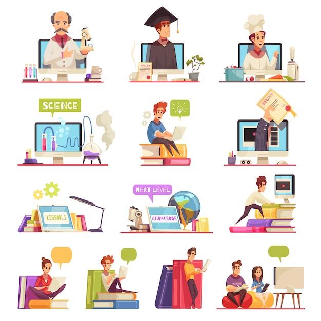 Aprendizaje en línea soporte de capacitación en video cursos universitarios oficiales calificaciones diploma 13 conjunto de composiciones de dibujos animados vector gratuito