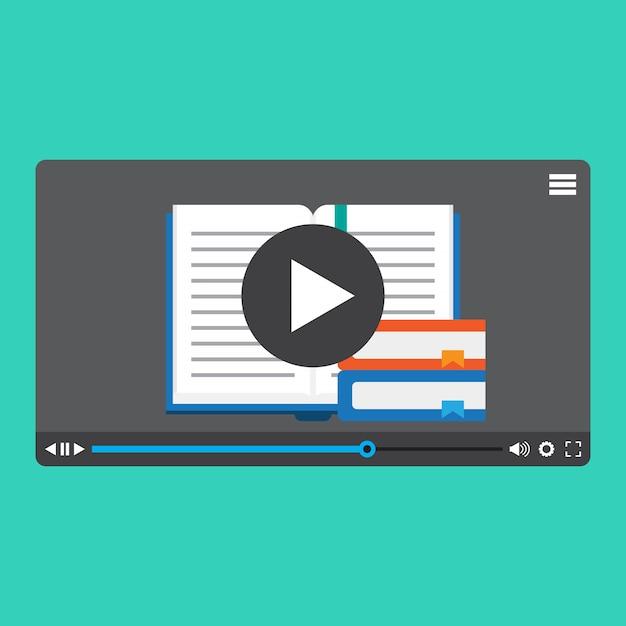 Aprendizaje en línea, video en línea, video tutorial   Vector Premium