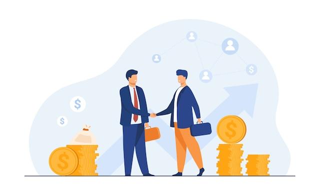 Apretón de manos de dos socios comerciales vector gratuito