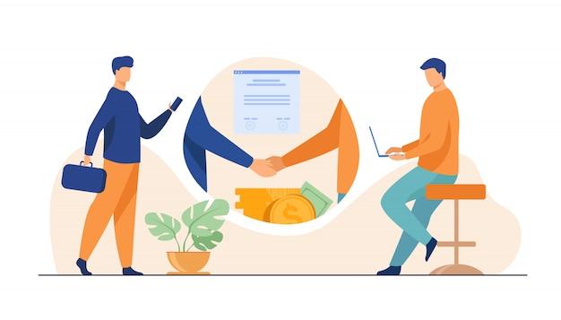 Apretón de manos de socios comerciales vector gratuito