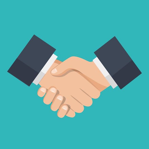 Apretón de manos de socios de negocios, icono de apretón de manos Vector Premium