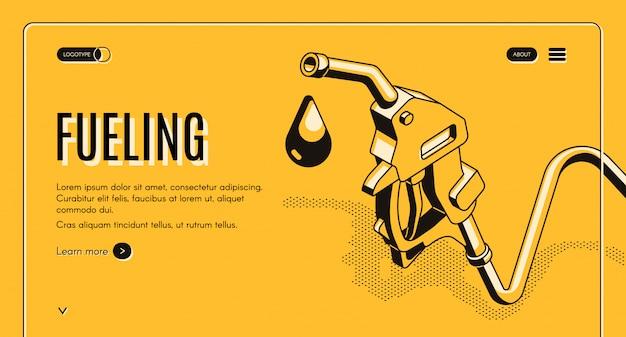 Aprovisionamiento de gasolina o diesel en banner web isométrico. boquilla de combustible en manguera y gota de gas. vector gratuito