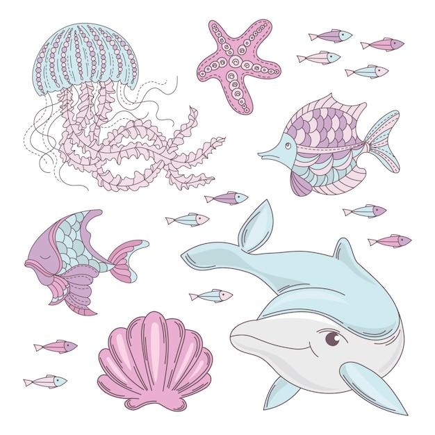 Aqua world mar subacuático animal marino Vector Premium