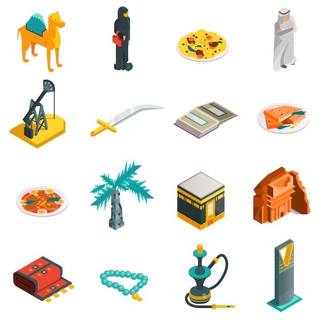 Arabia saudita isométrica conjunto de iconos turísticos vector gratuito